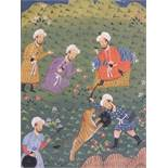 (XVIII - XIX). Moghul school, figures hunting a tiger, unsigned, inscribed verso, mixed media on