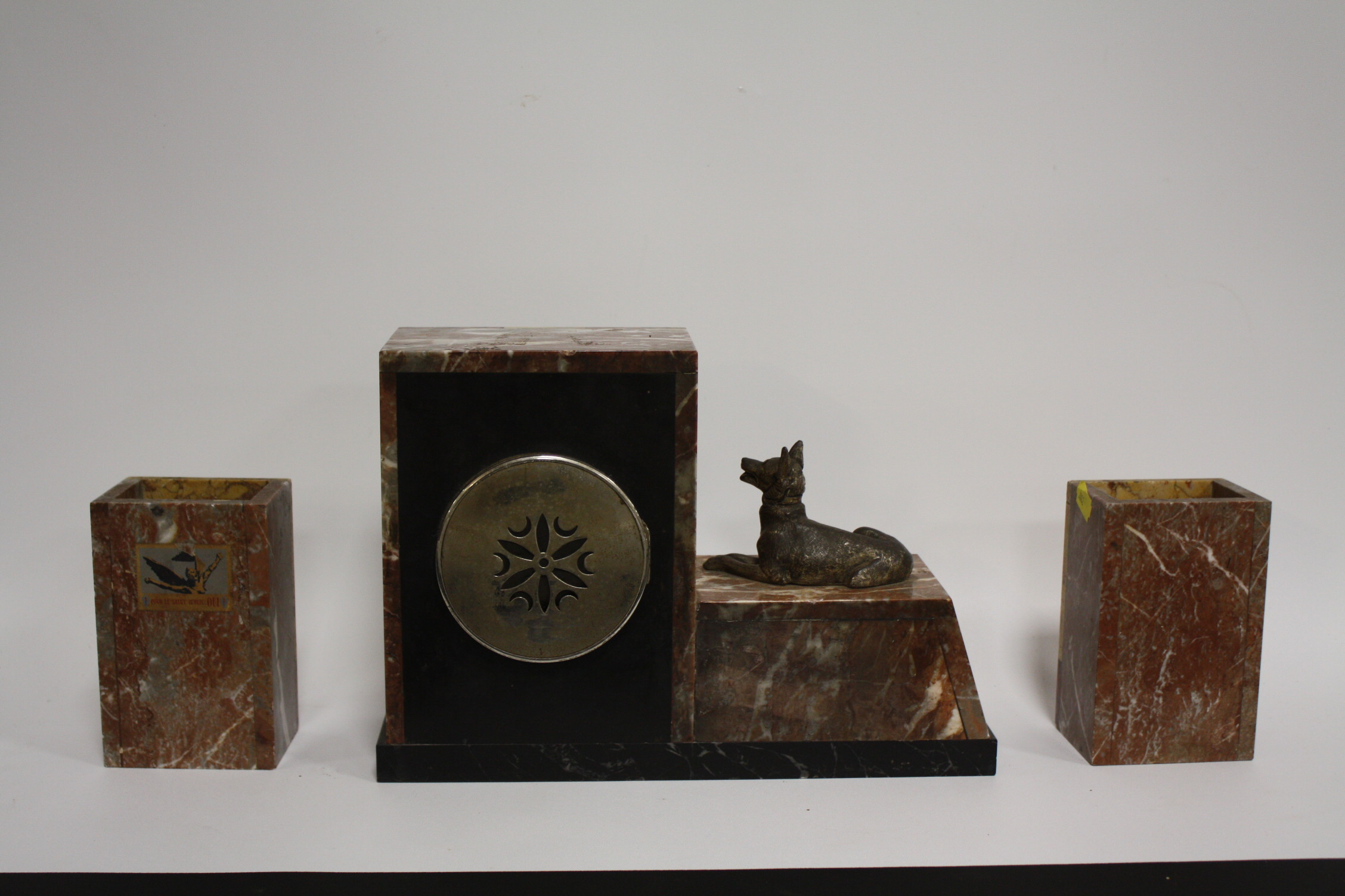 Lot 629 - A FRENCH ART DECO MARBLE CLOCK GARNITURE BY BONNETT & POTTIER, the stylized clock with mounted