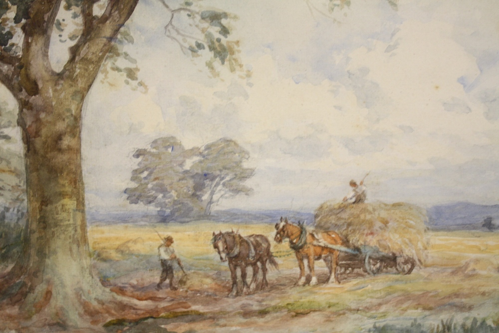 Lot 118 - FREDERICK JAMES KNOWLES (1831-1908). Circular wooded landscape with haycart, figures and horses by a
