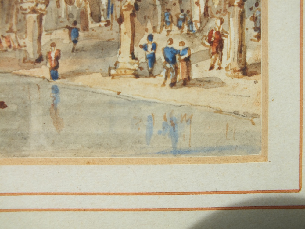 Lot 121 - (XIX-XX). Venetian scene with boats and figures, unsigned, watercolour, framed and glazed, 14 x 16