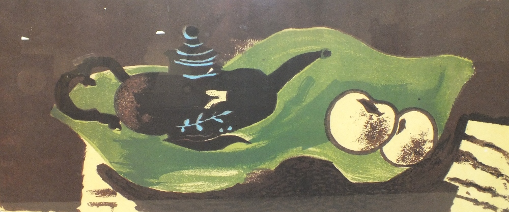 AFTER GEORGES BRAQUE (1882-1963). Abstract composition 'Teapot & Apples', see verso, unsigned,