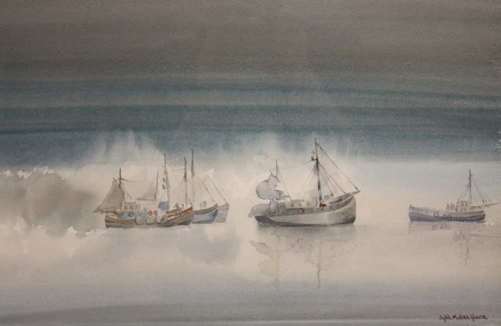 Lot 96 - SYBIL MULLEN GLOVER (d.1995). Seascape with fishing vessels, signed lower right, watercolour, framed