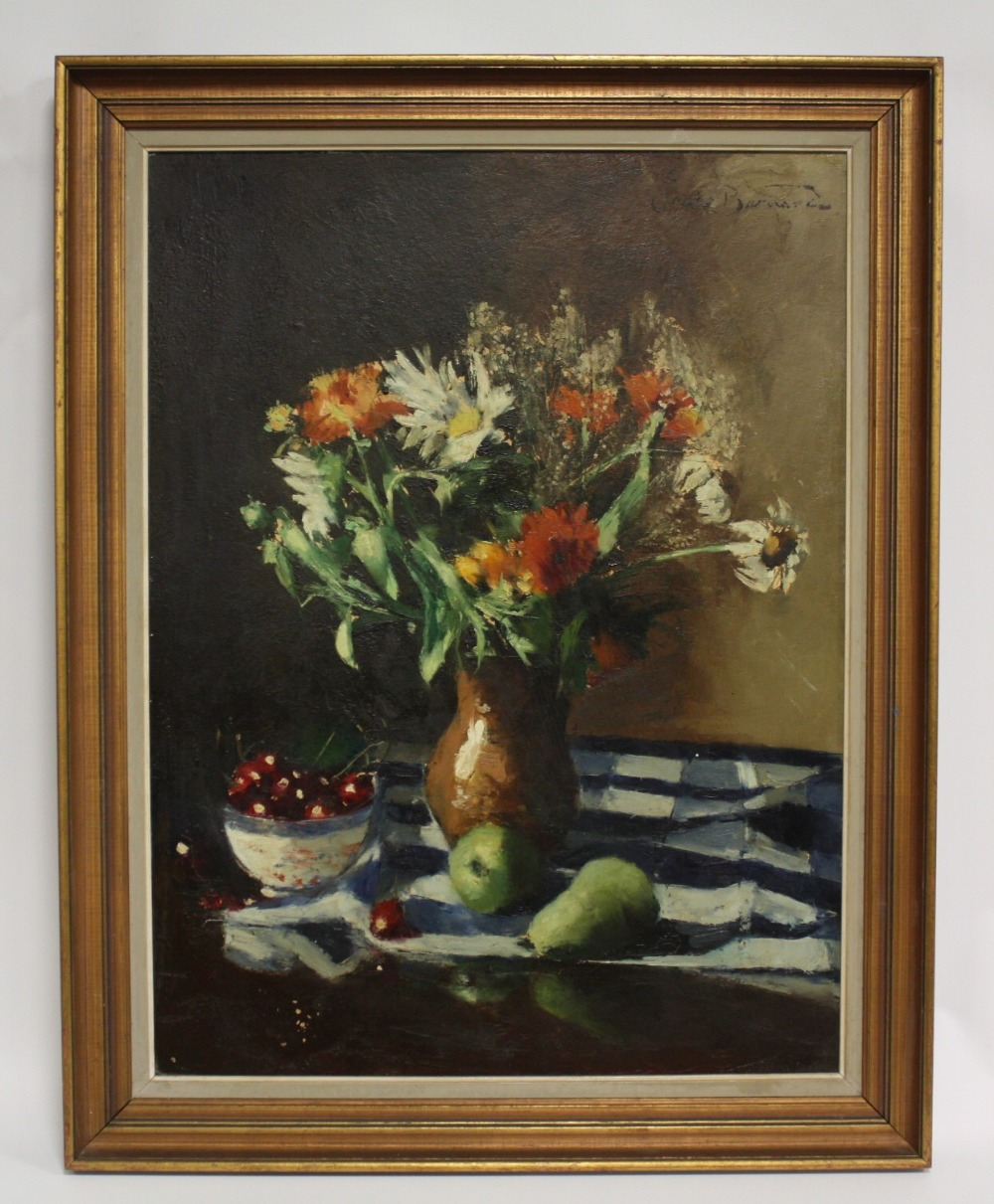Lot 154 - (XX). An impressionist still life study of a vase of flowers, pears and a bowl of cherries on a
