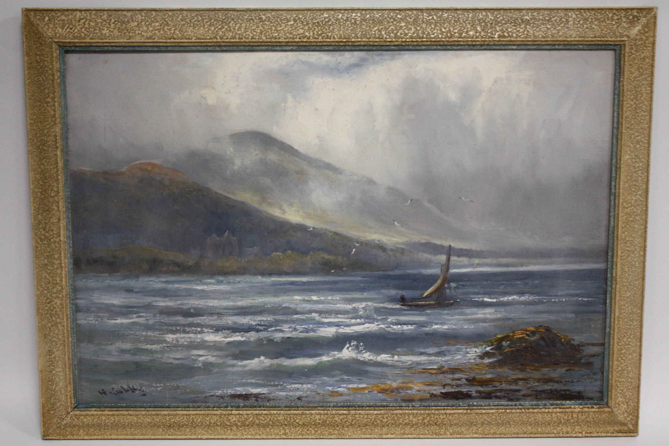 Lot 171 - HENRY HADFIELD CUBLEY (1858-1934). 'Off the Scottish Coast' see verso, signed lower left and