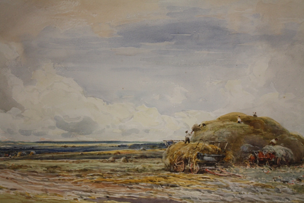 Lot 80 - CLAUDE HAYES (1852-1922). English school, extensive landscape titled 'Haymaking in Suffolk',