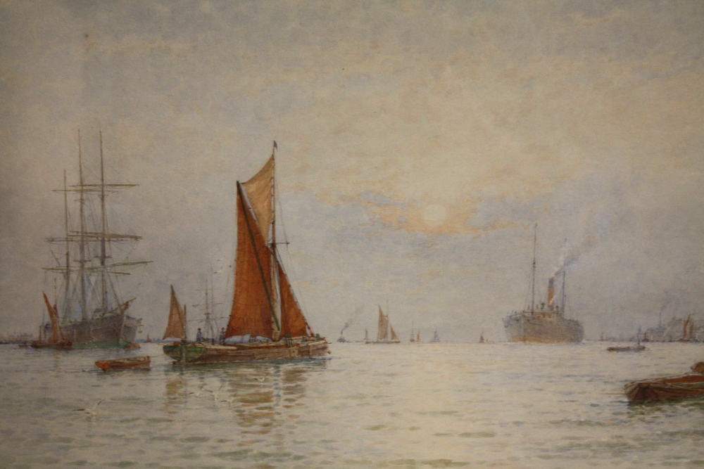 Lot 127 - GEORGE STANFIELD WALTERS (1838-1924). River scene with numerous ships, boats and figures 'Summer