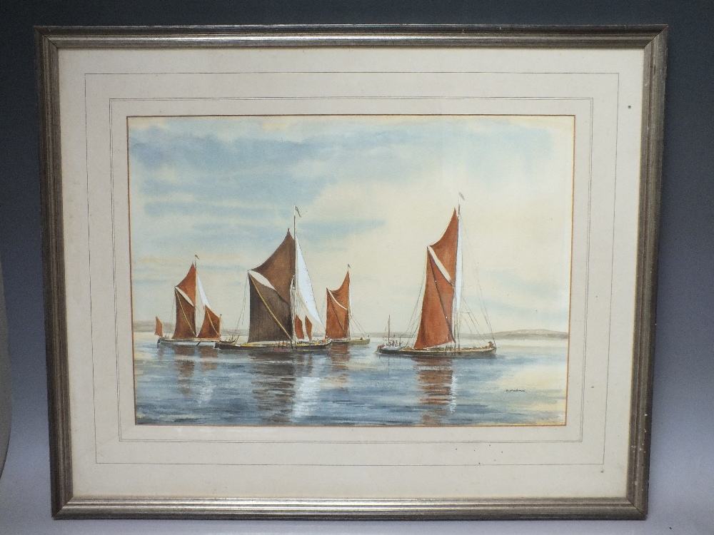 Lot 129 - B. MARTIN (XX). English school, riverscape with Norfolk barges and figures, signed lower right,