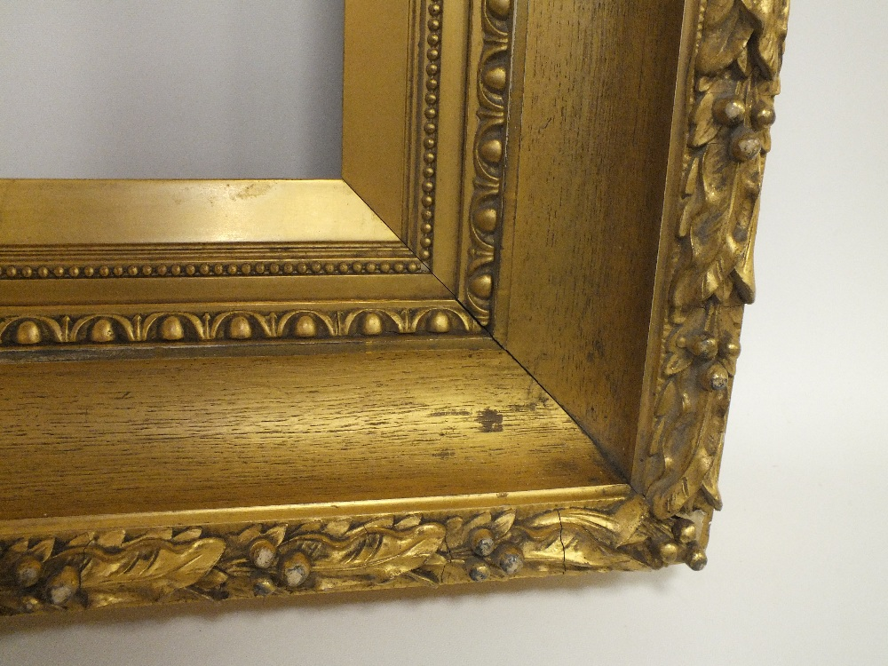 Lot 70 - A 19TH CENTURY GOLD FRAME WITH ACANTHUS LEAF DESIGN TO OUTER EDGE, egg and dart design to inner