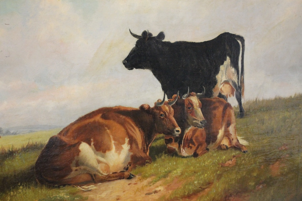 Lot 173 - WILLIAM R.D. SALMON (1832-1899). Welsh School, study of cattle resting in a moorland river