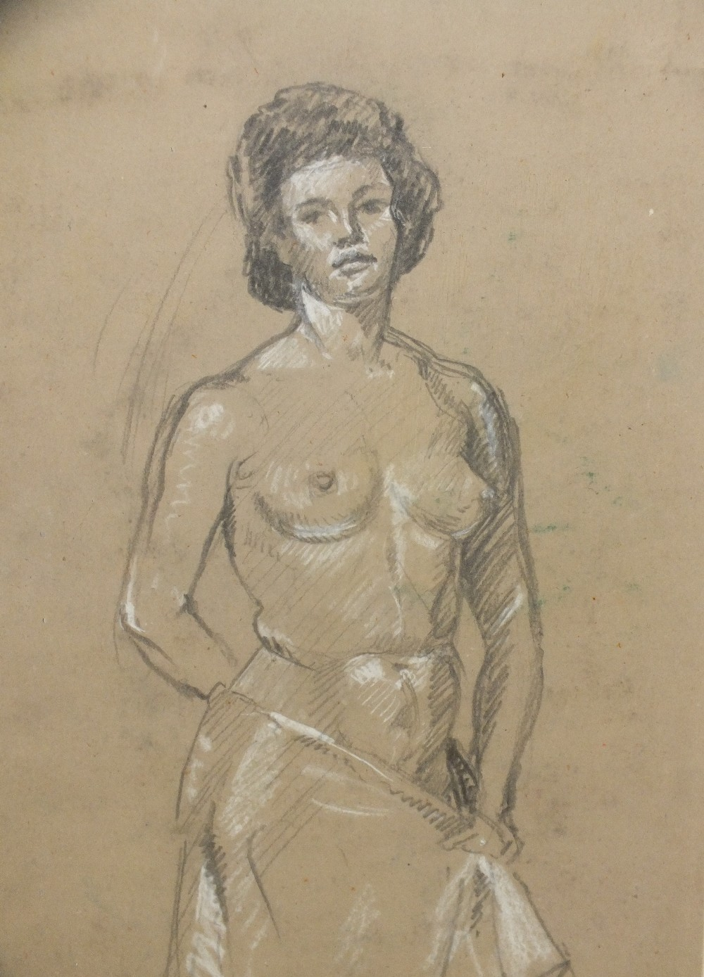 Lot 61 - EDWARD WILLIAM STOTT (1859-1918). Full length portrait study of a female semi-nude, signed with