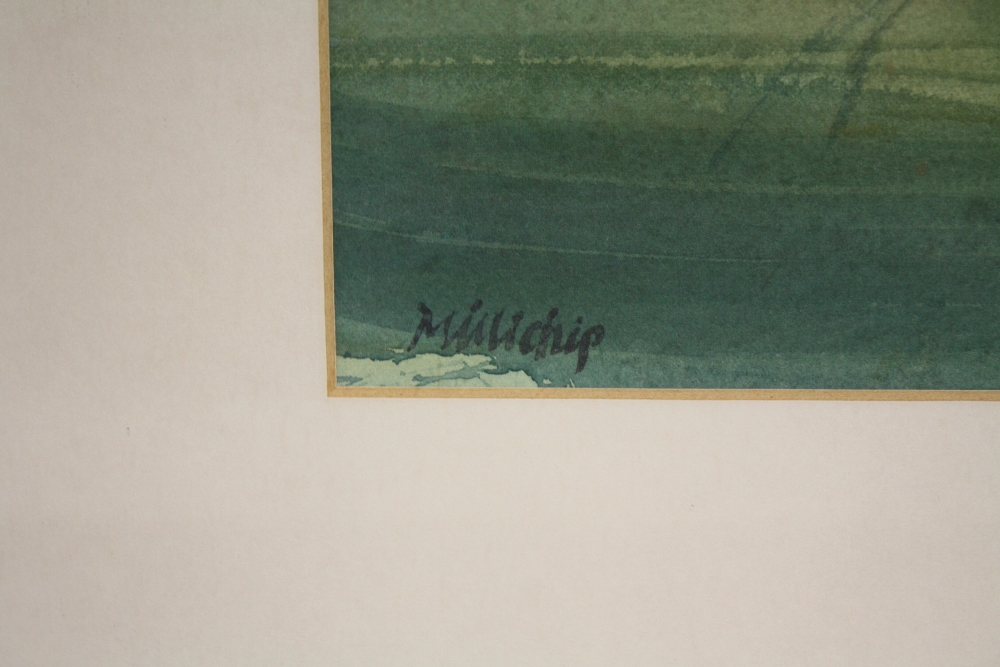 Lot 102 - PAUL MILLICHIP (b.1929). Impressionist stormy landscape with sheep, signed lower left,