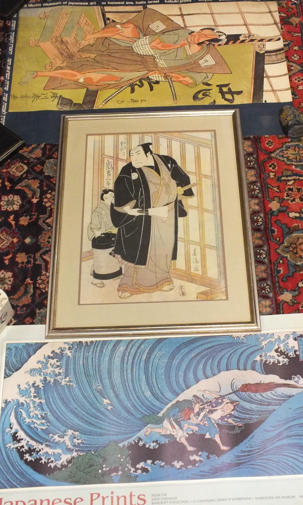 Lot 30 - SHUNKIN. A vintage study of a Kabuki actor, signed and inscribed with character marks in plate, over