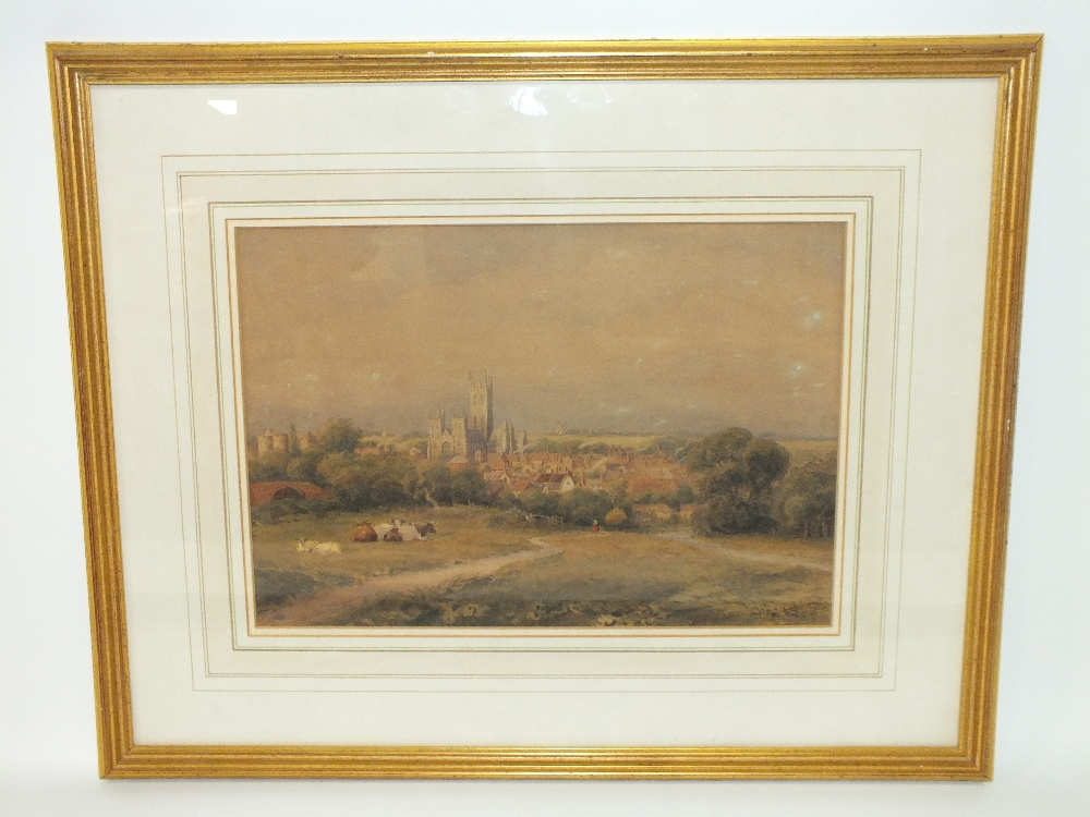 Lot 100 - SAMUEL STANDIGE BODEN (1826-1882). A view of Canterbury Cathedral from the fields, signed lower