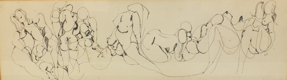 Lot 4 - (XX). Scenes of female erotica, signed and dated 1963 mid to lower right, mixed media on paper,
