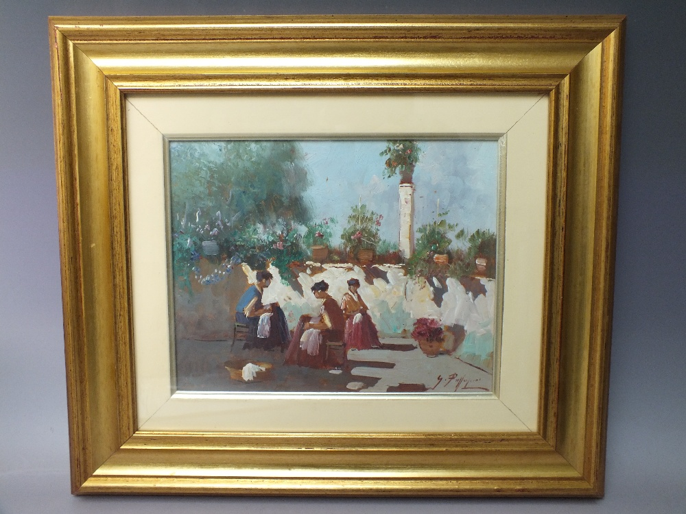 Lot 166 - (XX). Continental school, impressionist courtyard scene with three seated women sewing, indistinctly