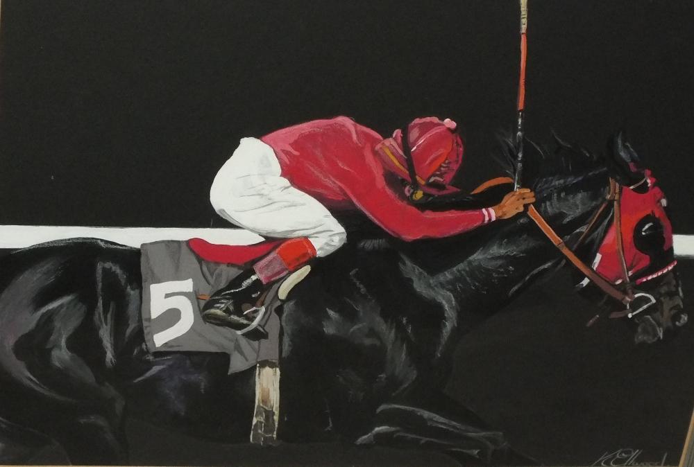 Lot 64 - K. ELLWOOD (XX). Twentieth century horse racing scene, signed lower right, mixed media on card,