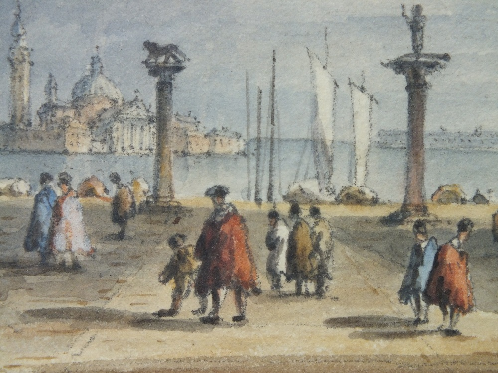 Lot 120 - (XIX-XX). Venetian square with figures, unsigned, watercolour, framed and glazed, 11 x 18 cm