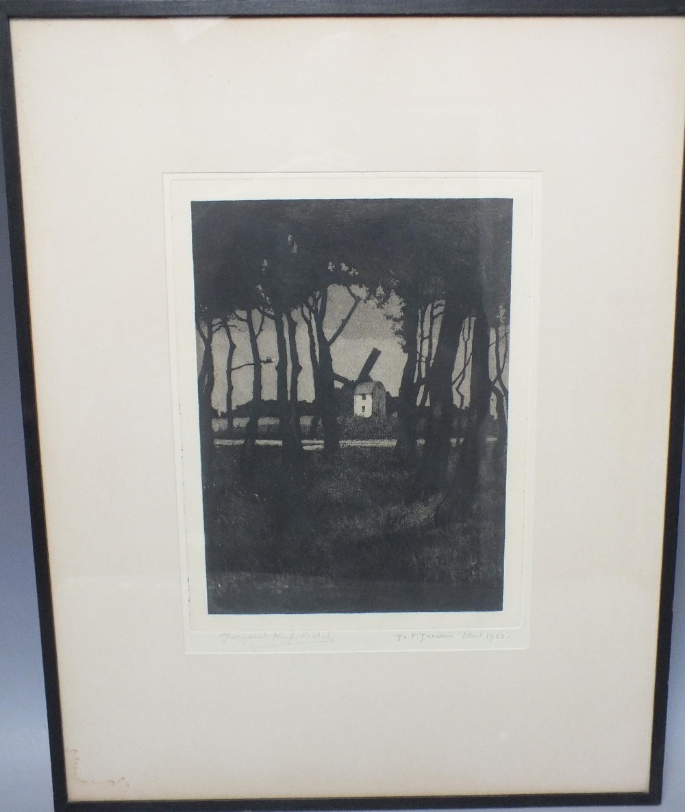 Lot 24 - MARGARET KEMP WELCH (1899-1940). Wooded river landscape with windmill, signed in pencil lower left