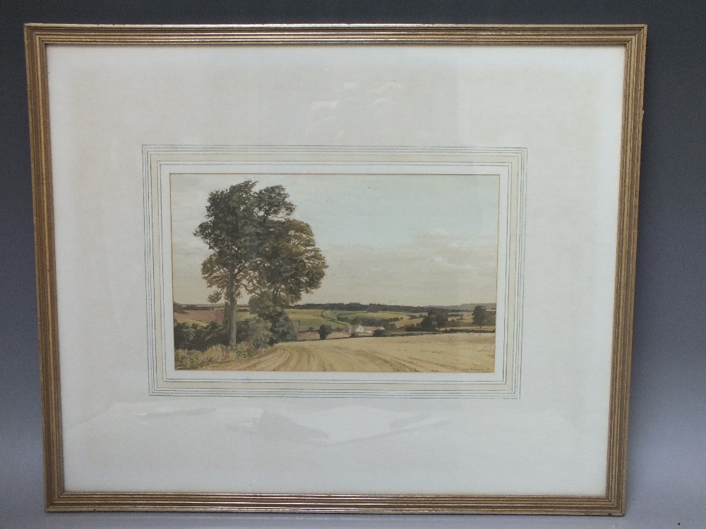 Lot 48 - MEREDITH W. HAWES (1905-1999). 'After the Harvest, Gloucestershire', see R.W.S. label verso,