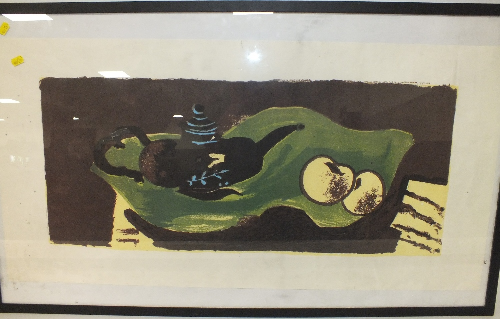 AFTER GEORGES BRAQUE (1882-1963). Abstract composition 'Teapot & Apples', see verso, unsigned, - Image 2 of 3