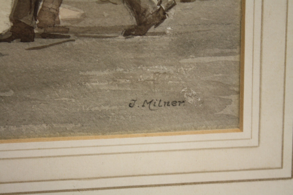 Lot 119 - JOSEPH MILNER (1888-1969). 'The Station Approach', with figures, see label verso, signed lower