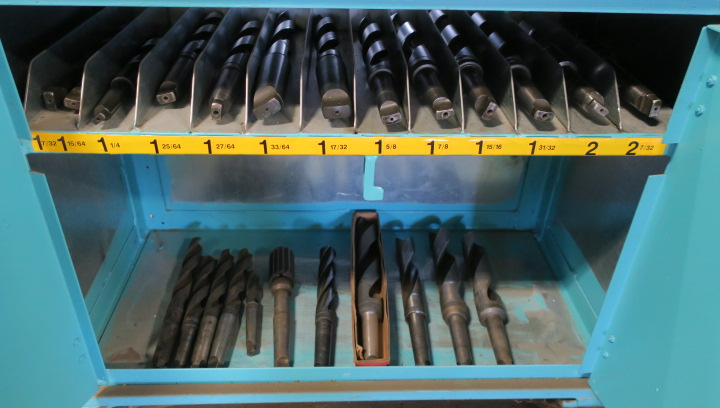 "CABINET, w/large qty. of taper shank drills from 1/2"" to 2-7/32"" dia., in sorted trays - Image 4 of 4"
