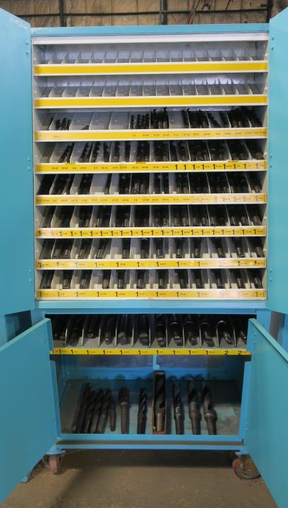 "CABINET, w/large qty. of taper shank drills from 1/2"" to 2-7/32"" dia., in sorted trays"