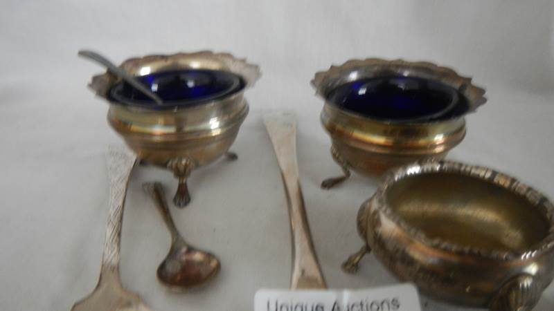Lot 56 - A mixed lot of silver items including salts.