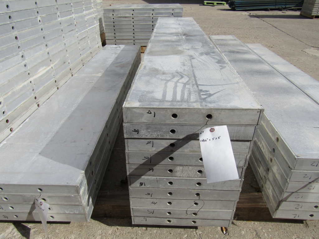 """(10) 16"""" x 8' New Durand Concrete Forms, Smooth 6-12 Hole Pattern, Attached Hardware, Located in Mt."""