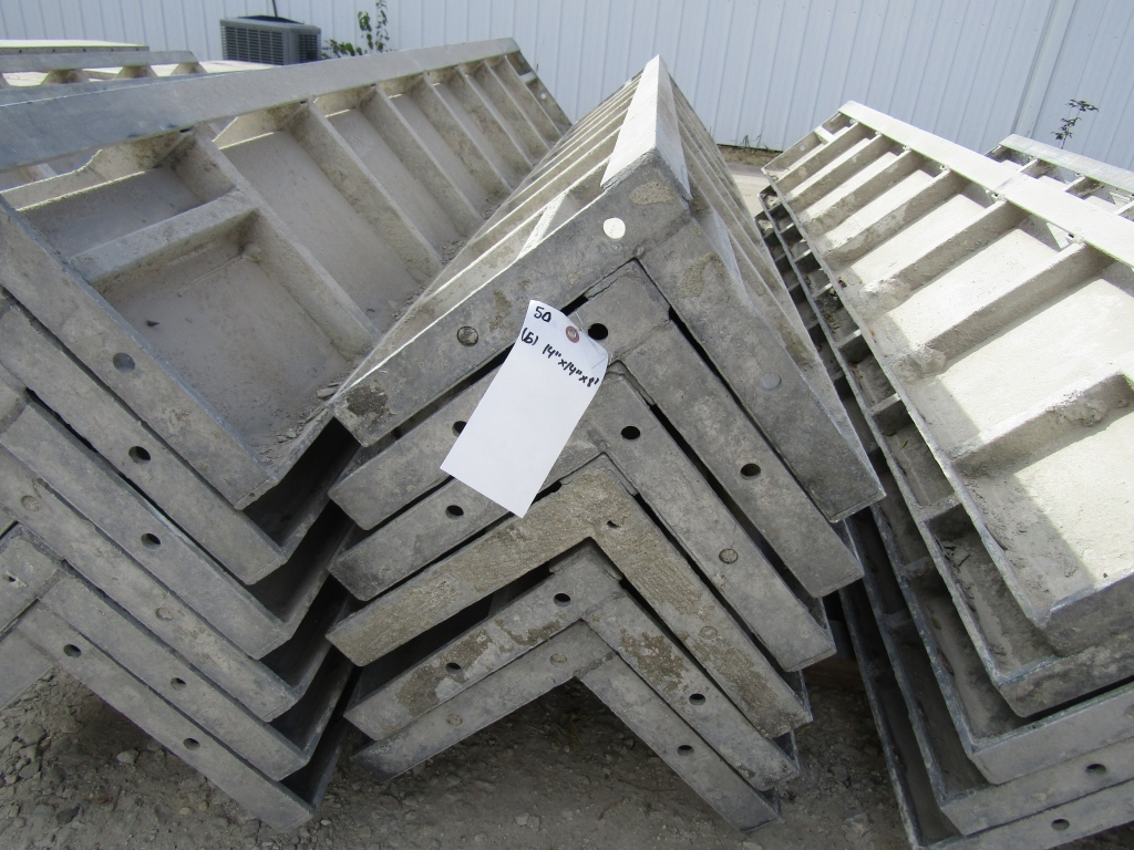 "(6) 12"" x 12"" x 8' Durand Concrete Forms Corners, Smooth 6-12 Hole Pattern, Located in Mt. Pleasant,"