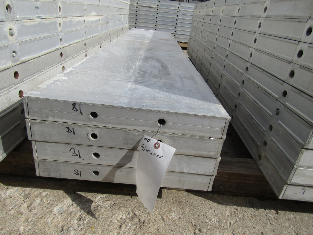 """(4) 18"""" x 8' New Durand Concrete Forms, Smooth 6-12 Hole Pattern, Attached Hardware, Located in"""