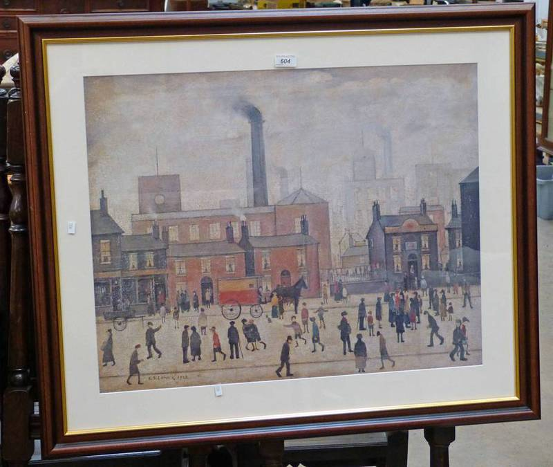 FRAMED LS LOWRY PRINT COMING HOME FROM THE MILL 55 X 69CM