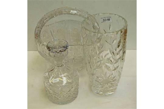 Crystal Basket 24cms High Crystal Vase 265cm Edinburgh Crystal