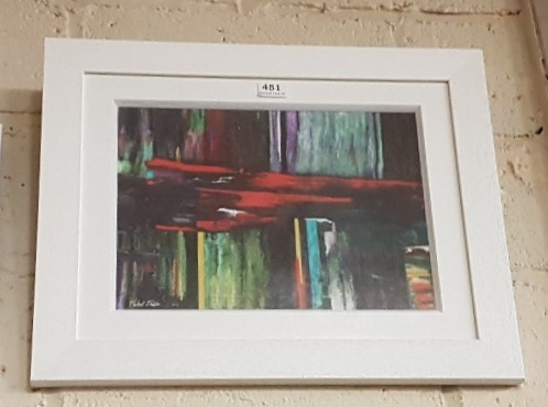 Lot 451 - Michael Thatcher Abstract Fine Art Print, red and green stripes, in a white frame 33 x 45