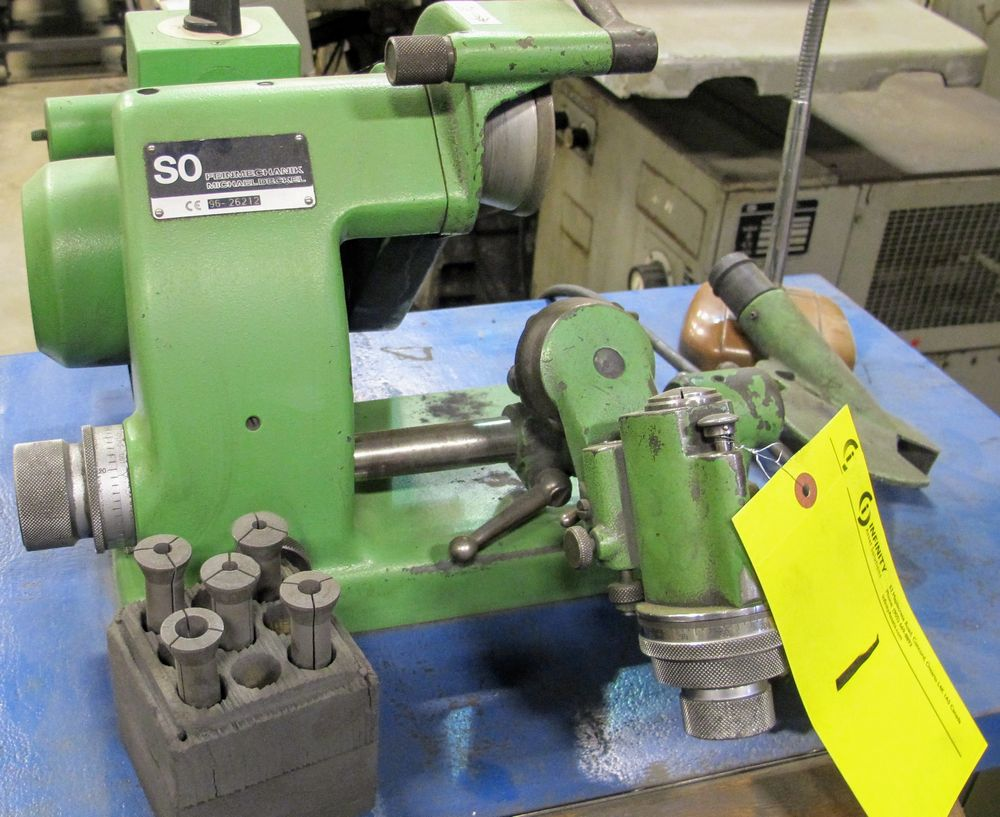 Lot 1 - SO TOOL/CUTTER GRINDER, S/N 96-26212 W/ COLLETS, METAL TABLE, VACUUM, ETC.
