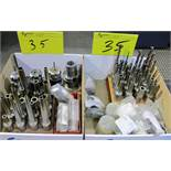 LOT OF ASST. HSK-A63 TOOL HOLDERS W/ TOOLING, ETC. (2 BOXES)