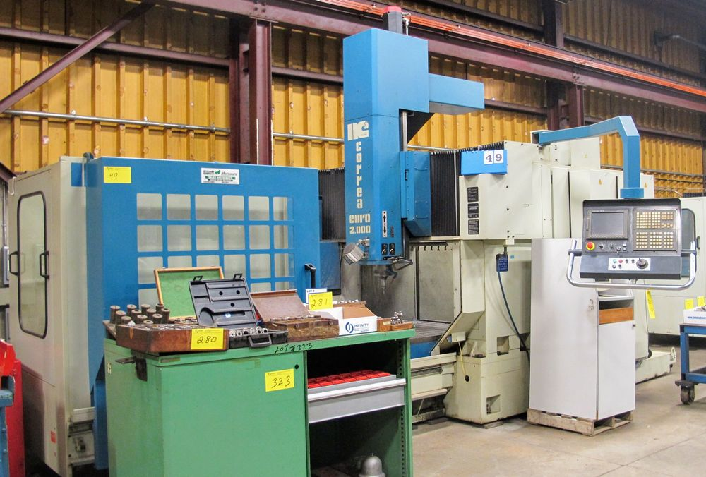 "Lot 49 - 2001 NICOLAS CORREA Euro-2.000 CNC Bridge Type Vertical Machining Center, s/n 900054, 40"" x 80"""