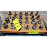 LOT (24) ASST. BT40 TOOL HOLDERS W/ TOOLING AND HUOT TRAY