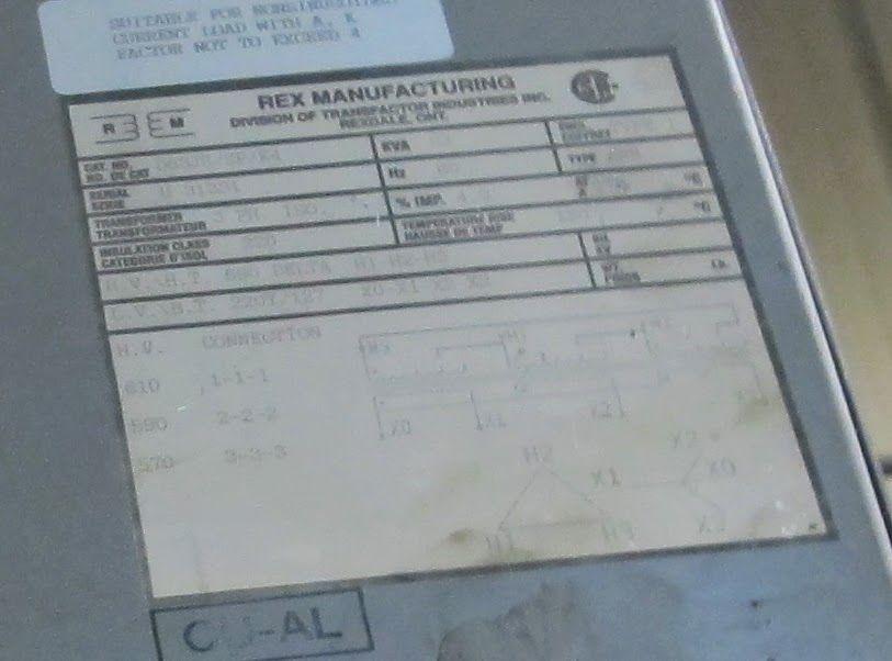 Lot 37 - REX TRANSFORMER, 63KVA, 590V PRIMARY, 220/127 SECONDARY