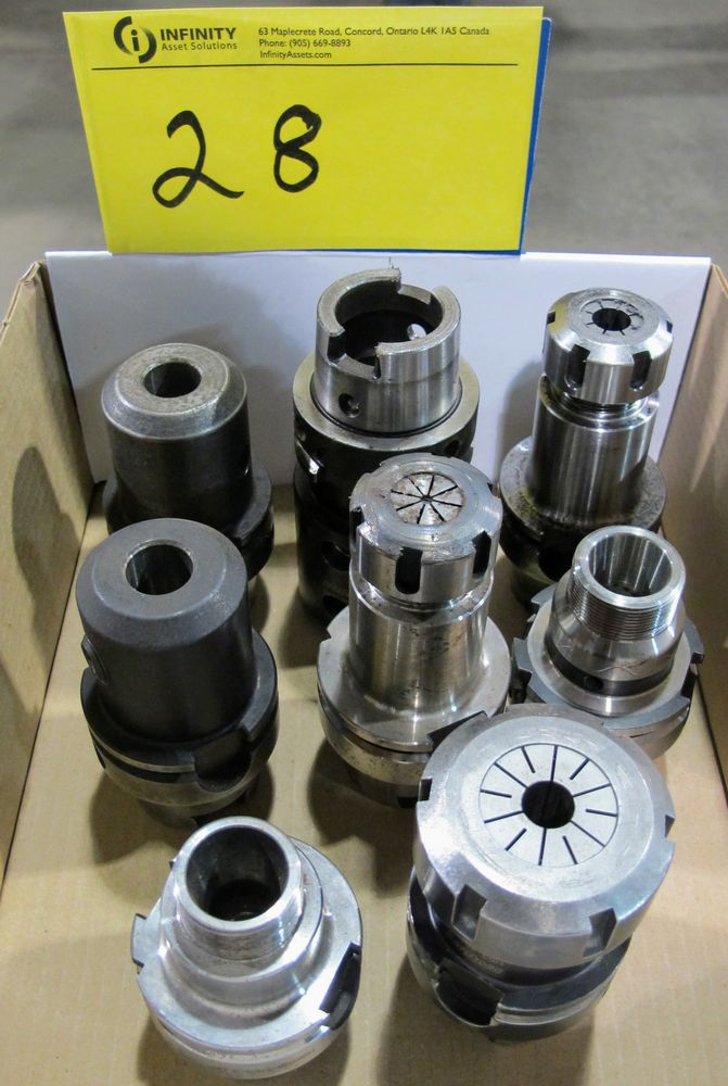 Lot 28 - LOT OF (8) HSK-A63 TOOL HOLDERS W/ ASST. TOOLING