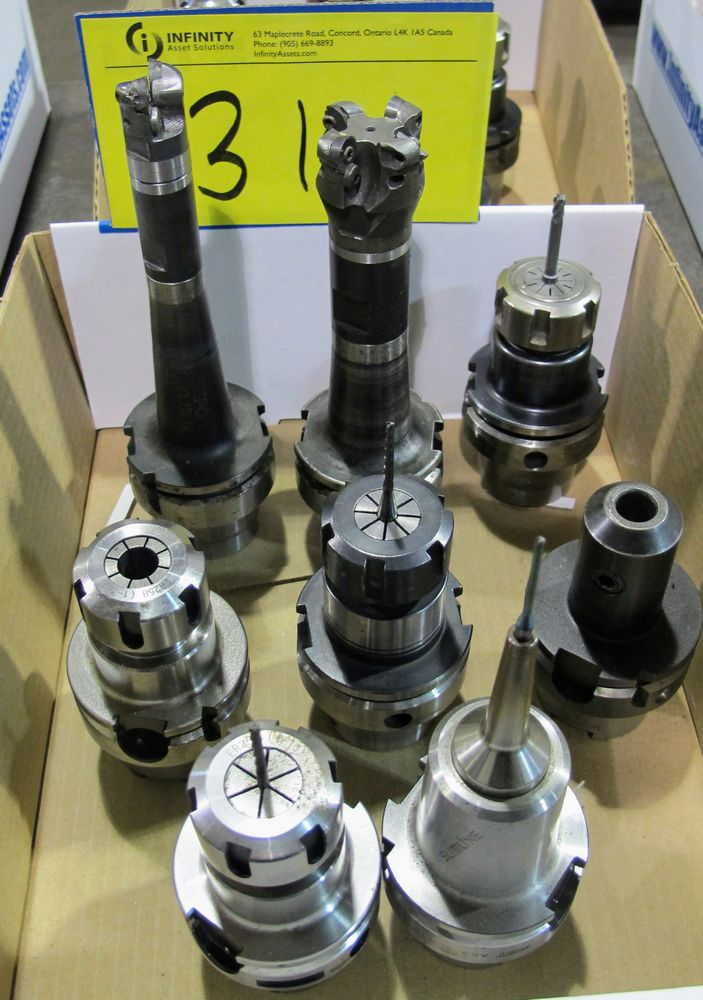Lot 31 - LOT OF (8) HSK-A63 TOOL HOLDERS W/ ASST. TOOLING