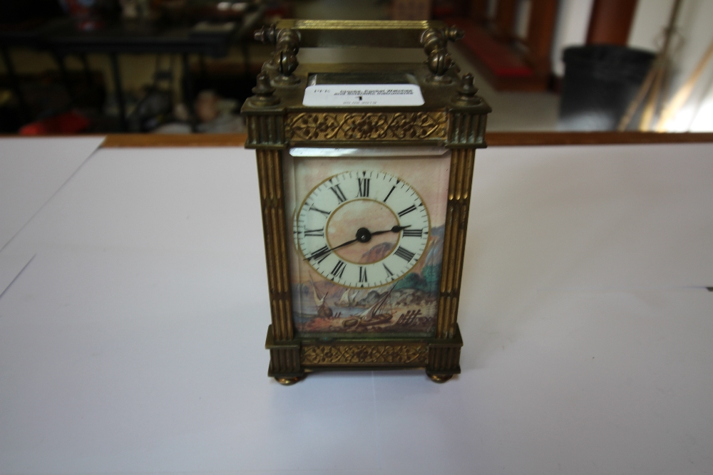Lot 1 - C19th Brass 5-Glass Carriage Clock - Painted Ceramic Dial