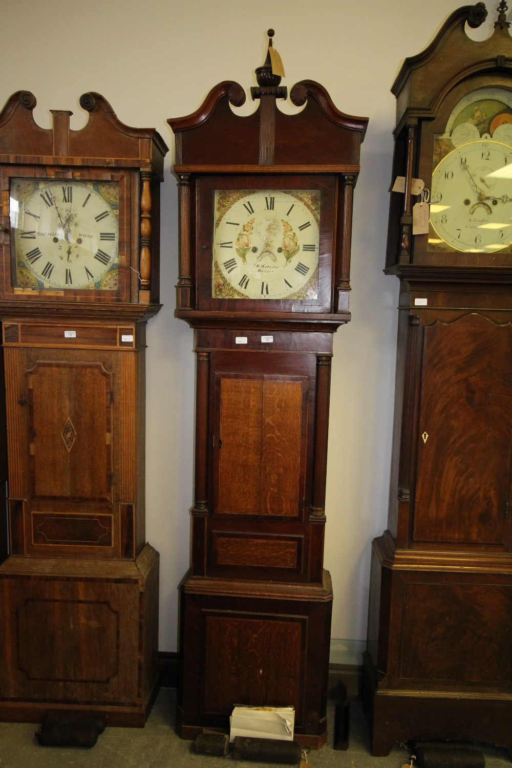 Lot 58 - R Roberts - Banger, Oak & Mahogany Long Case Clock 8 Day