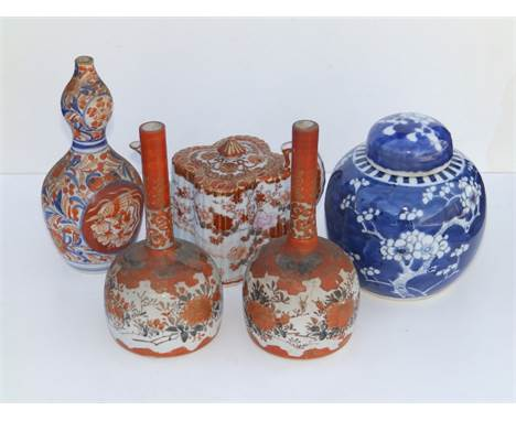 "A small pair of Japanese Kutani porcelain bottle vases, 7"" high,  a shaped Kutani teapot - a/f, an Imari double gourd vase an"