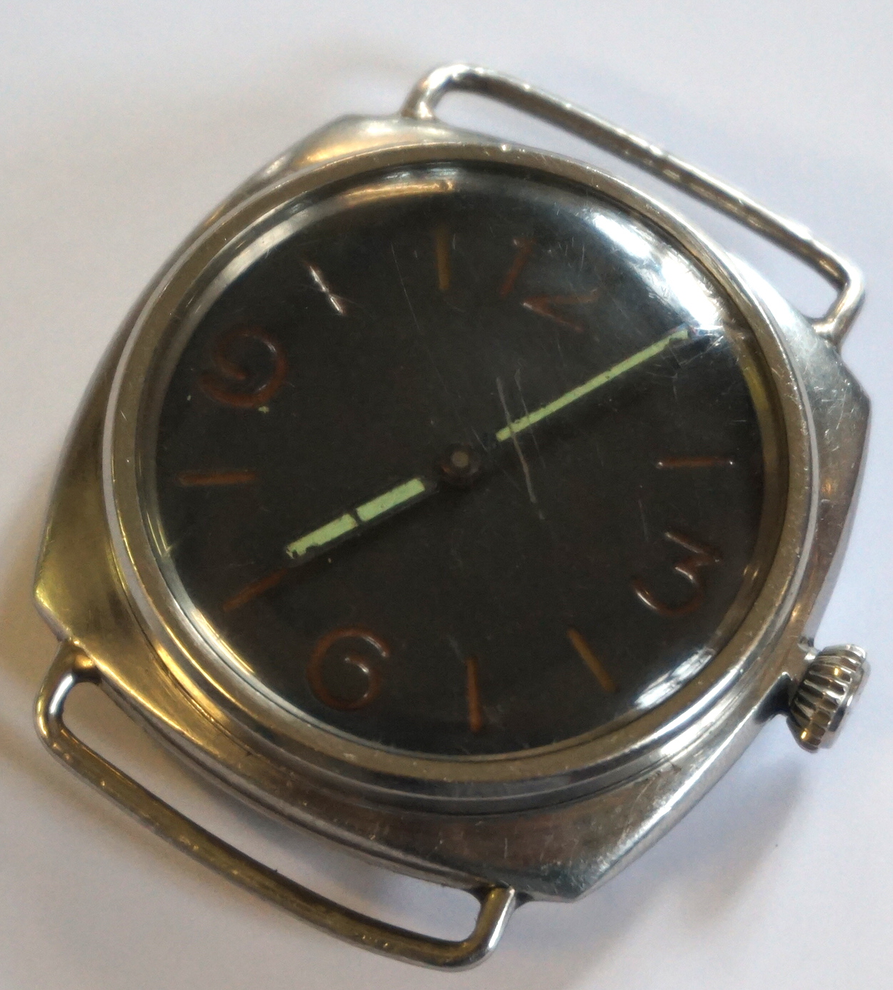 Lot 153 - A Panerai Type D Model 3646 Military Wristwatch With Rolex 17 Rubis movement,