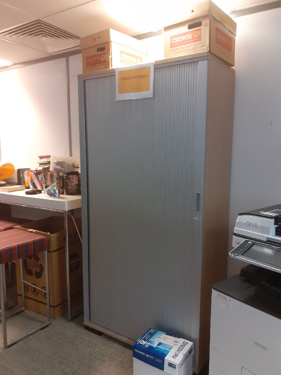 4 x Large wooden storage cabinets with metal doors.