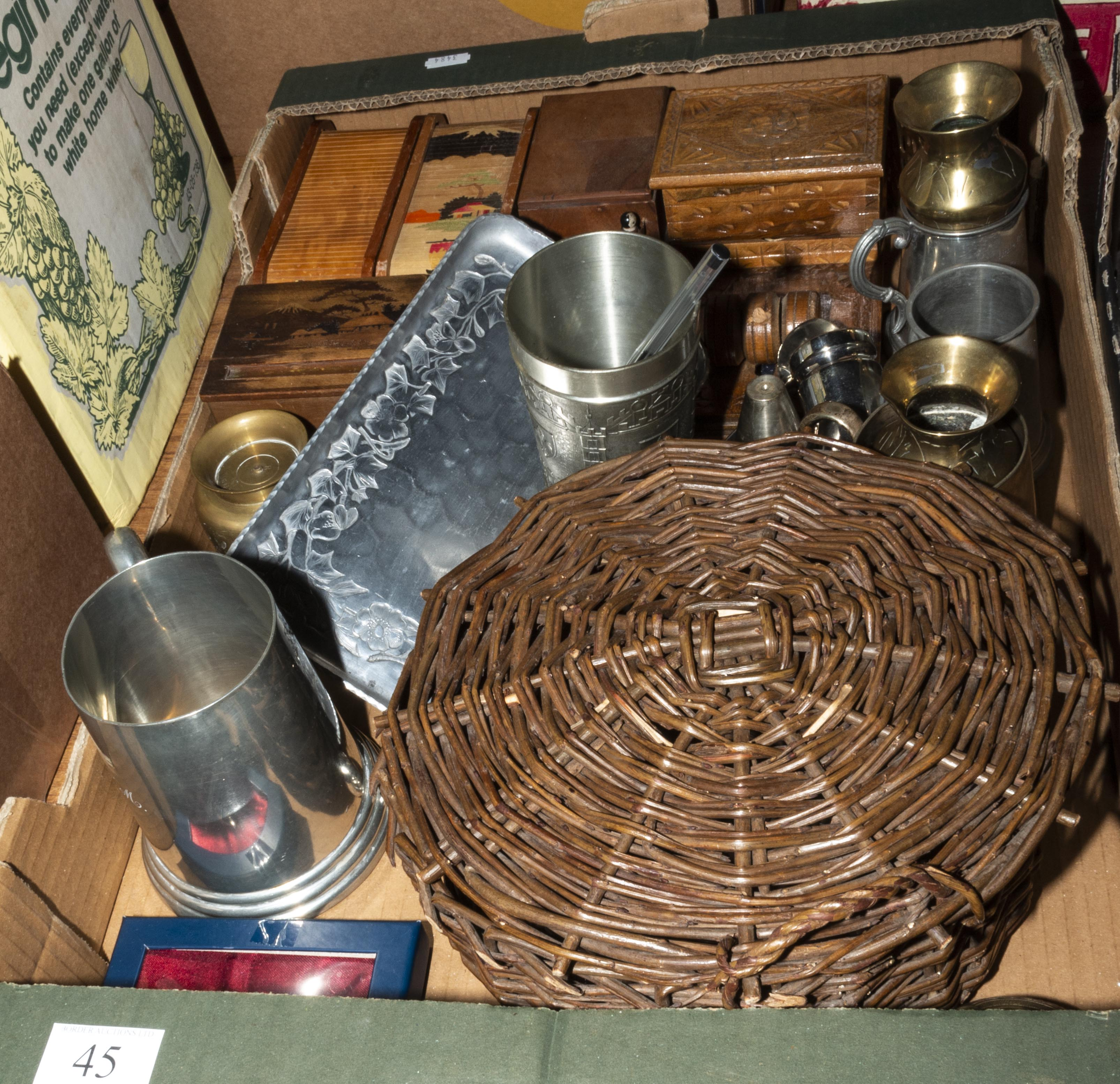 Lot 45 - A box containing metal ware and wooden items