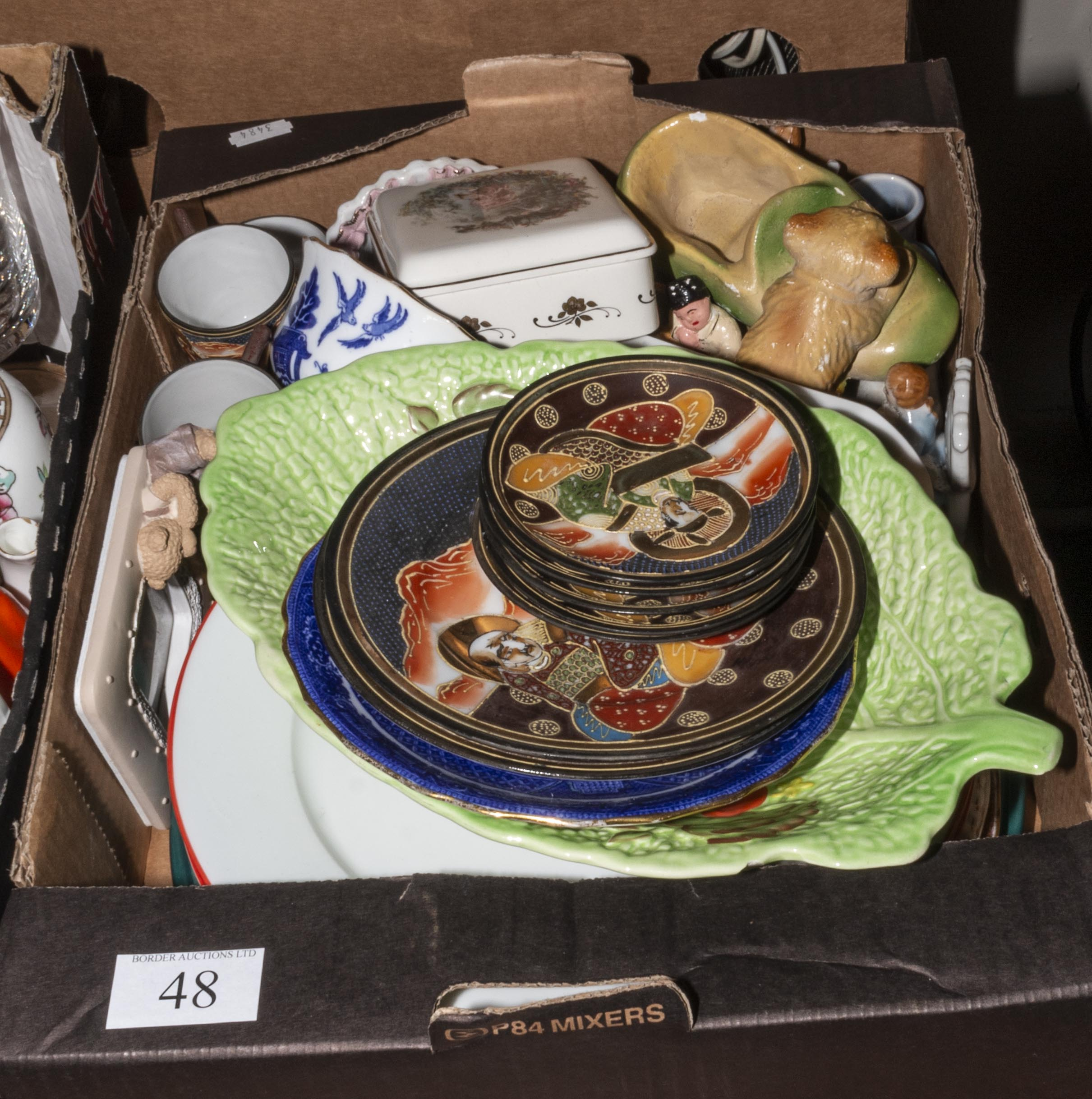 Lot 48 - A box containing assorted pottery and china