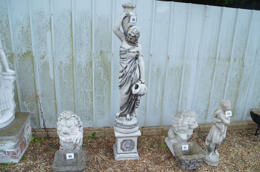 Lot 50 - A pre-cast water fountain feature of a lady carrying water jugs