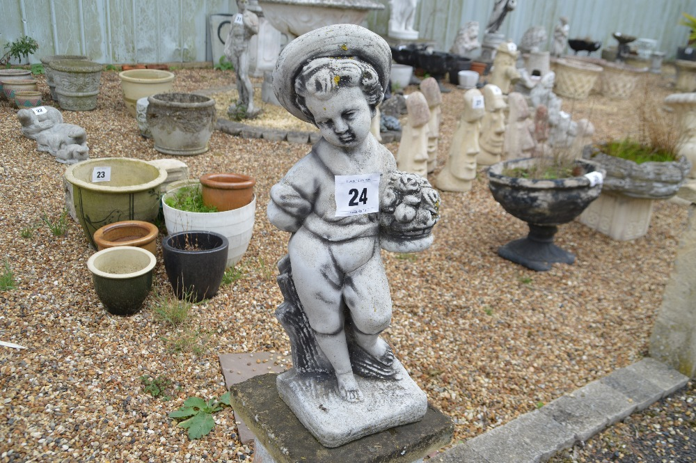 Lot 24 - A pre-cast cherub statue, approx. 68cm